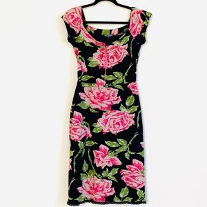 Bestsey Johnson Lace Up Corset Rose Body Con Dress
